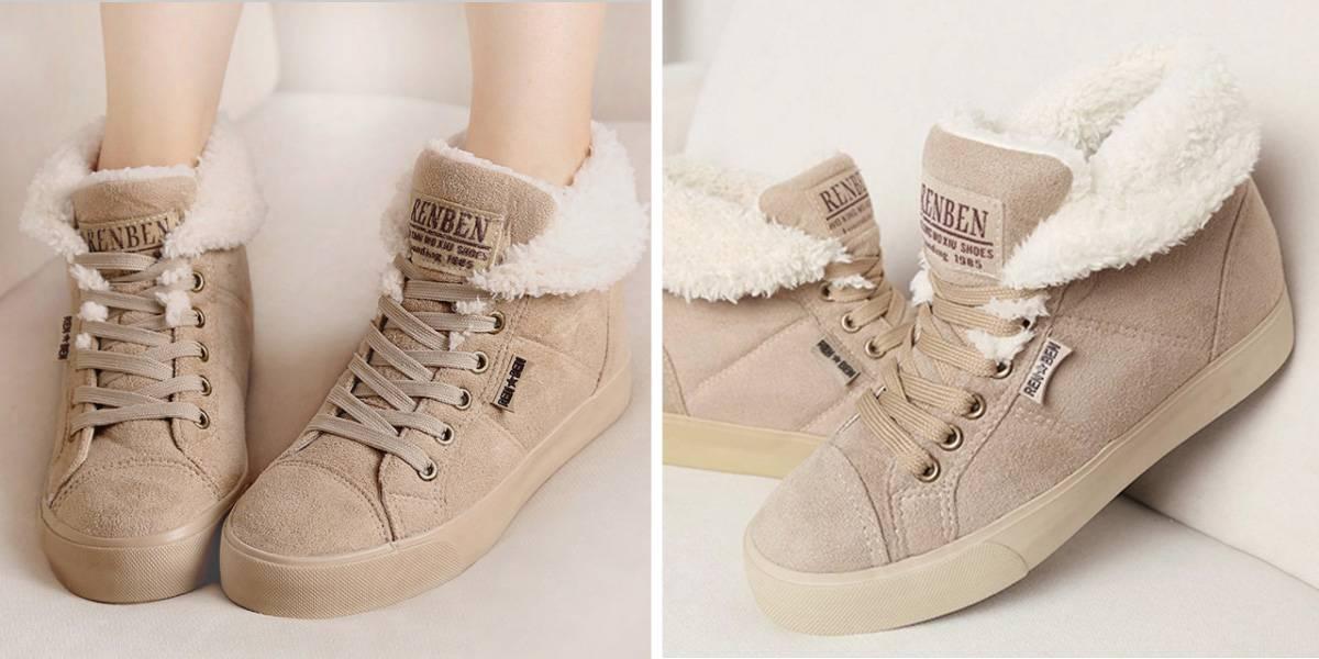 Теплые женские ботинки
