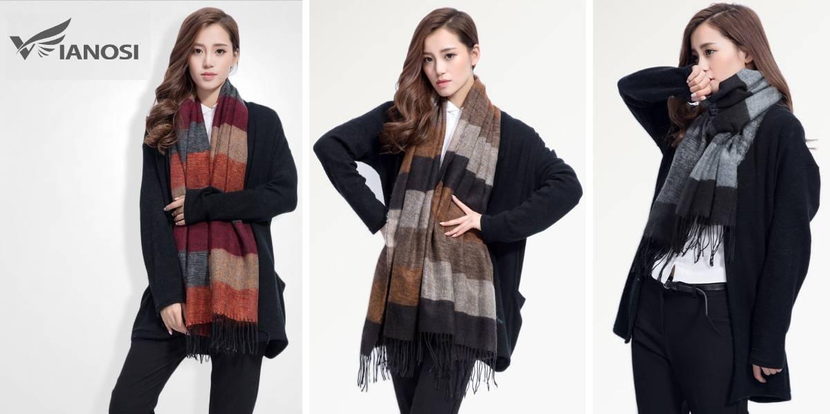 Большой тёплый шарф в полоску