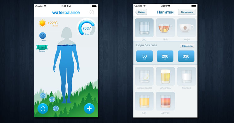 Мобильное приложение Waterbalance