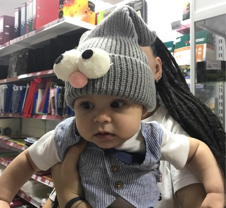 Шапка для малышей - гномик с глазками