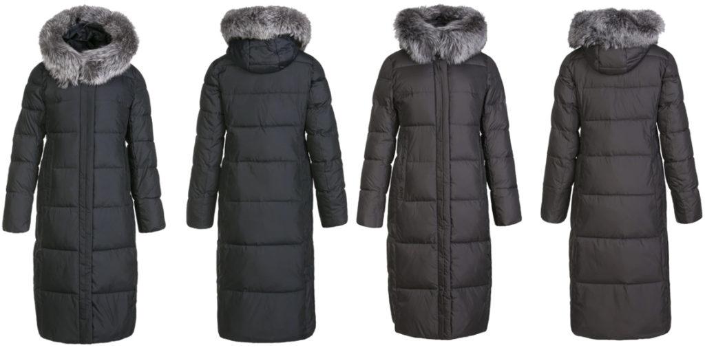 Длинное пуховое пальто