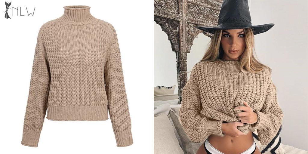 Пуловер с горлом женский