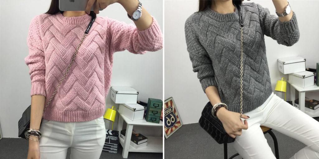 Пуловер с узором вязаный женский