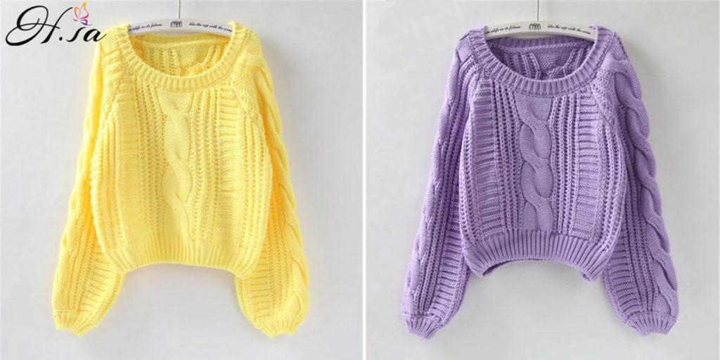 Вязаный короткий свитер женский