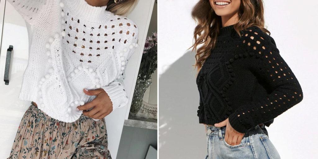 Вязаный свитер с ажуром женский