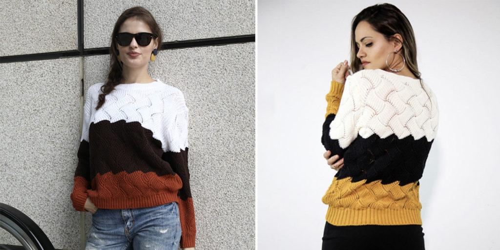 Вязаный свитер с узором женский