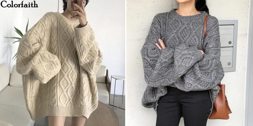 Вязаный свитер-туника женский