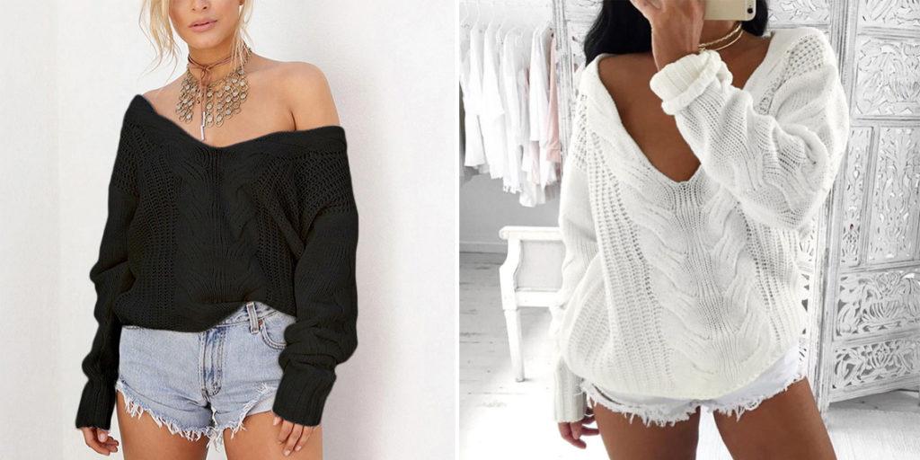 Вязаный свитер женский с глубоким вырезом
