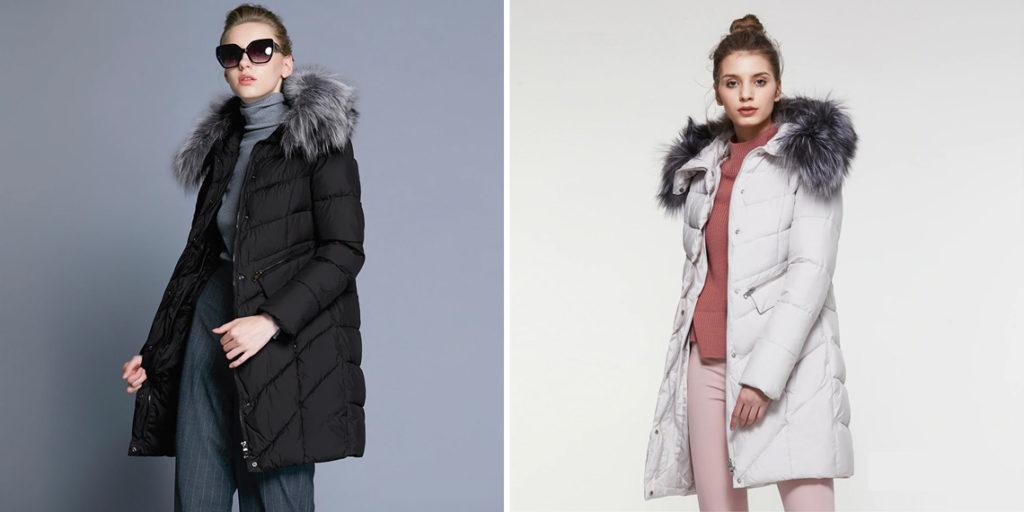 Женское пальто с капюшоном мех