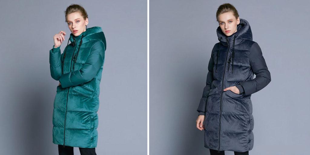 Зимняя куртка с бархатной вставкой