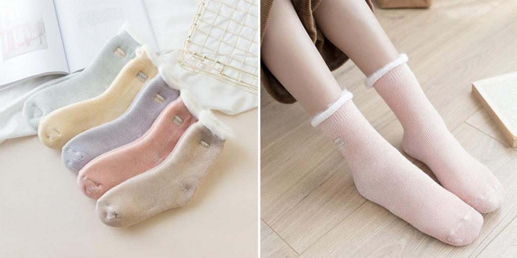 Женские носки с искуственным мехом