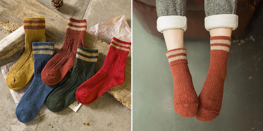 Женские теплые носки с рельефным узором