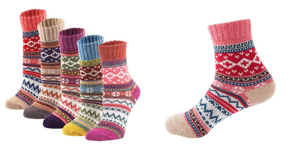 Женские теплые носки с цветным орнаментом