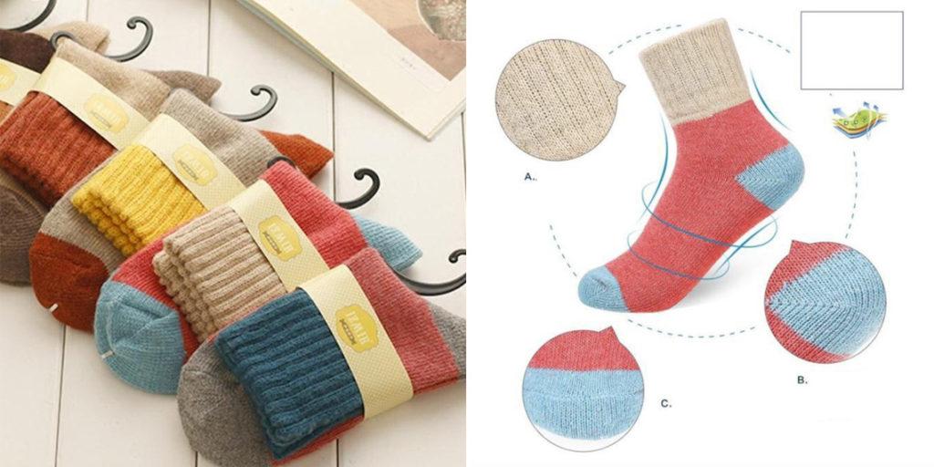 Женские теплые носки в стиле Пэчворк