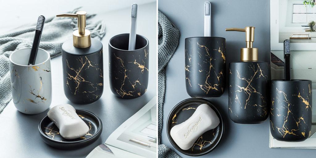 Набор для ванной с мраморным рисунком