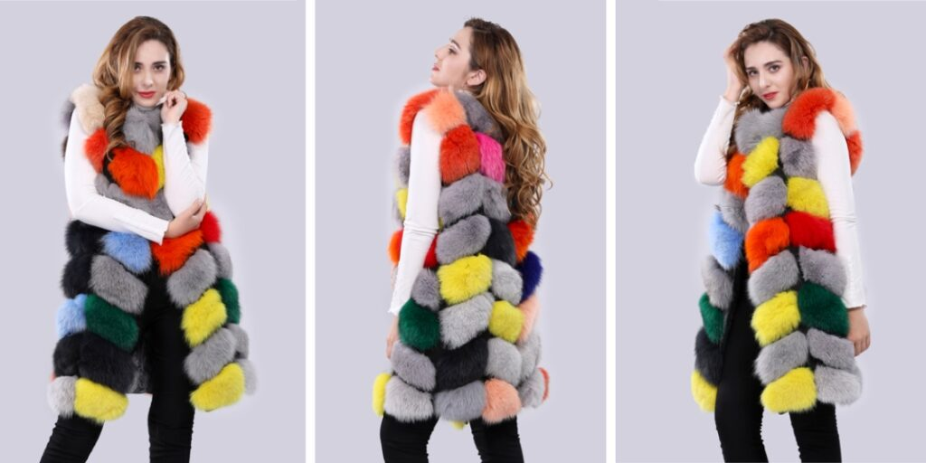 Цветная жилетка меховая