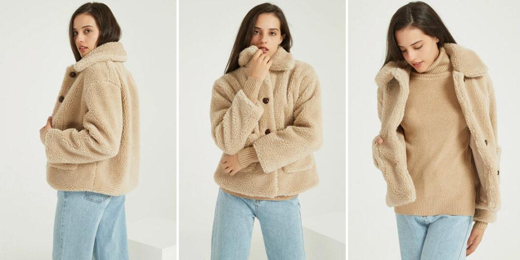 Теплая плюшевая куртка женская
