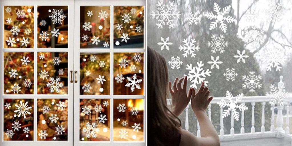 Наклейки снежинки на окна