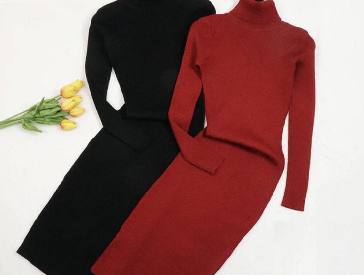 Платье с воротником длинное