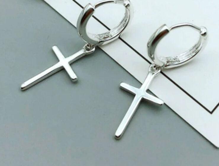 Серьги с крестом Али