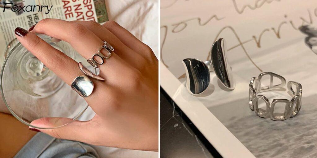 Полуоткрытое серебряное кольцо