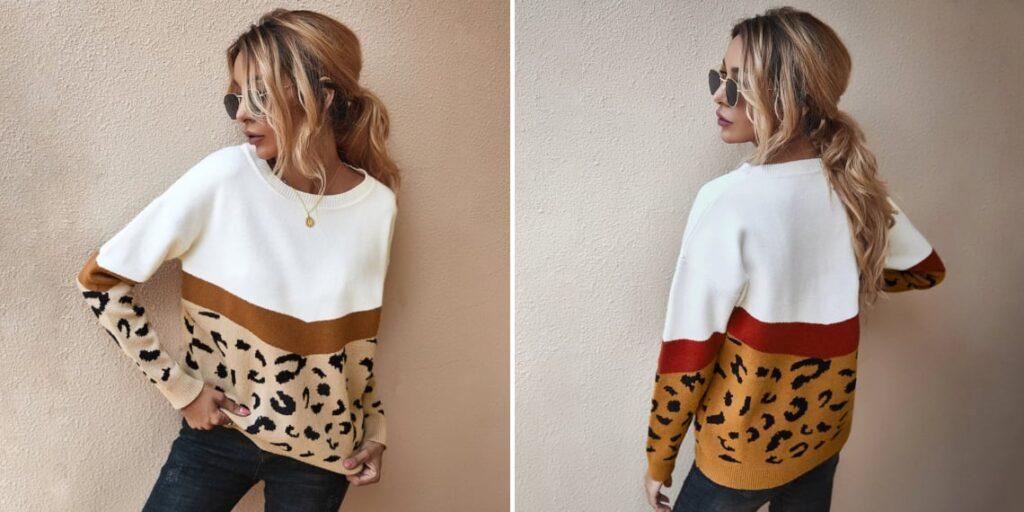 Джемпер женский с леопардовым принтом