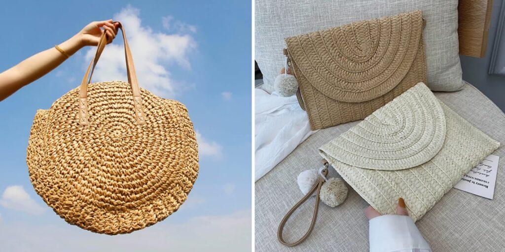 Соломенная сумка для пляжа
